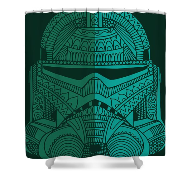 Stormtrooper Helmet - Star Wars Art - Blue Green Shower Curtain