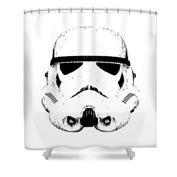 Shower Curtain featuring the digital art Stormtrooper Helmet Star Wars Tee Black Ink by Edward Fielding