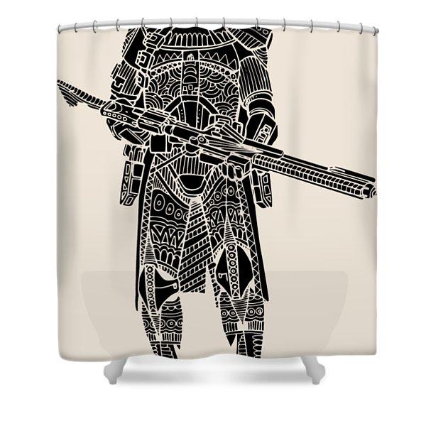 Stormtrooper Samurai - Star Wars Art - Black Shower Curtain