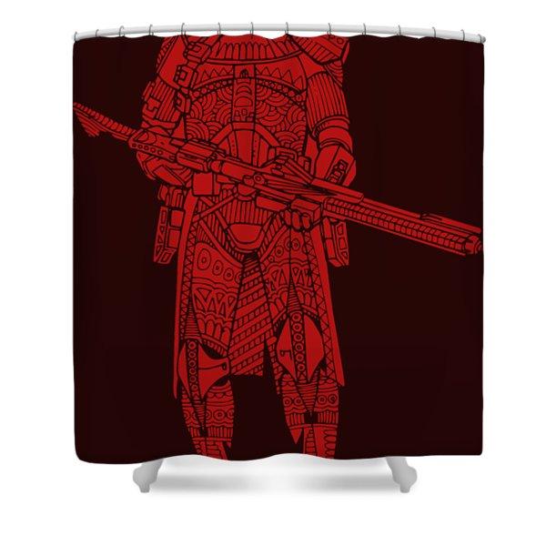 Stormtrooper Samurai - Star Wars Art - Red Shower Curtain