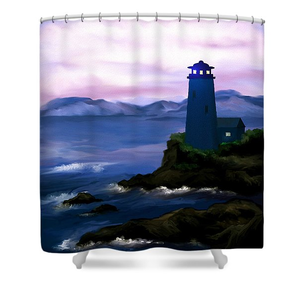 Stormy Blue Night Shower Curtain