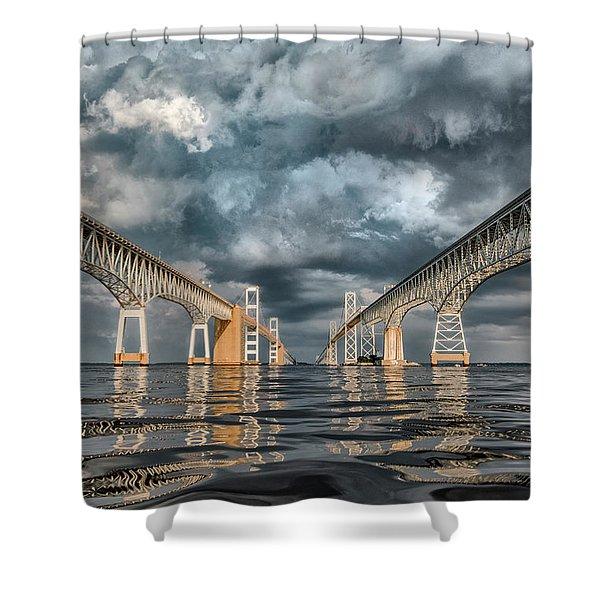 Stormy Chesapeake Bay Bridge Shower Curtain