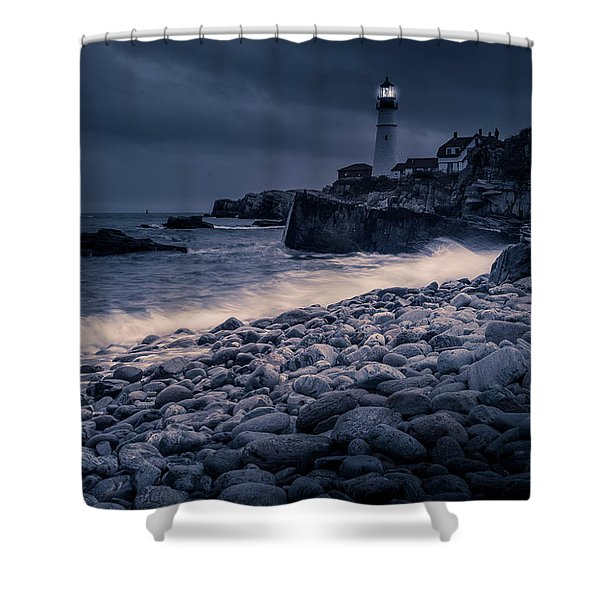 Stormy Lighthouse 2 Shower Curtain