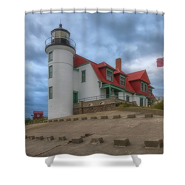 Shower Curtain featuring the photograph Stormy Point Betsie 2 by Heather Kenward