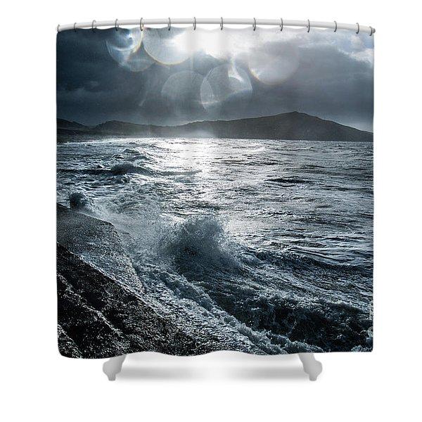 Stormy Seas At Tanybwlch Aberystwyth Shower Curtain
