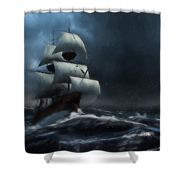 Stormy Seas - Nautical Art Shower Curtain