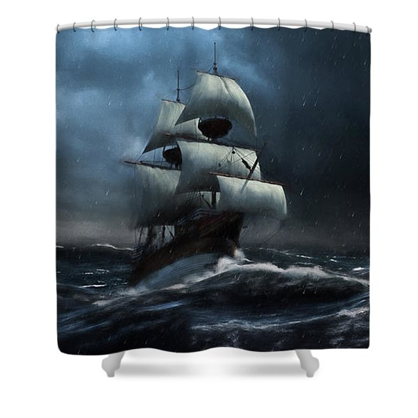 Stormy Seas - Nautical Art Shower Curtain