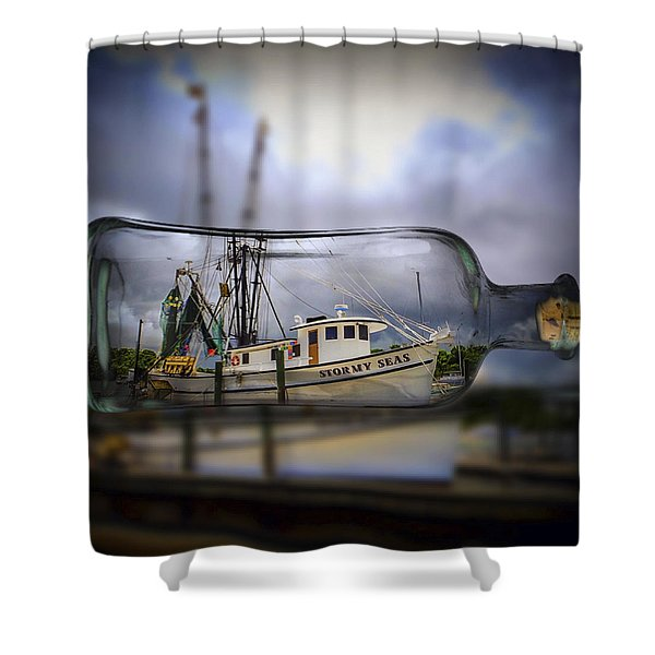 Stormy Seas - Ship In A Bottle Shower Curtain