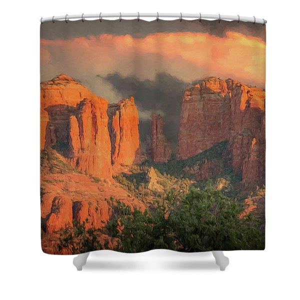 Stormy Sedona Sunset Shower Curtain
