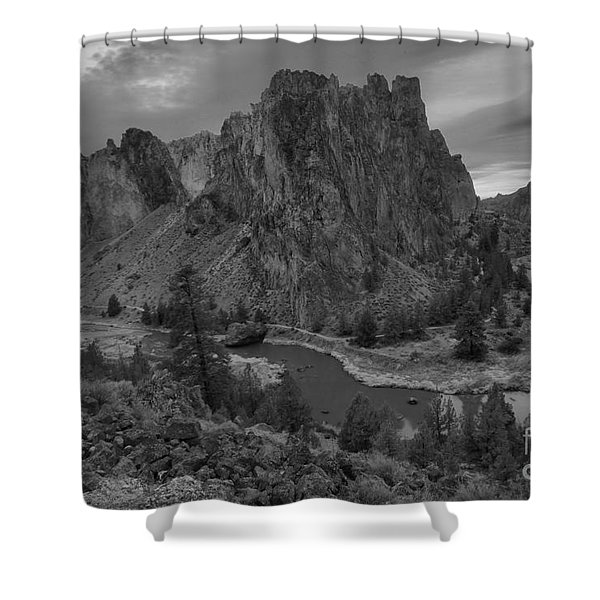 Stormy Skies Over Smith Rock - Black And White Shower Curtain