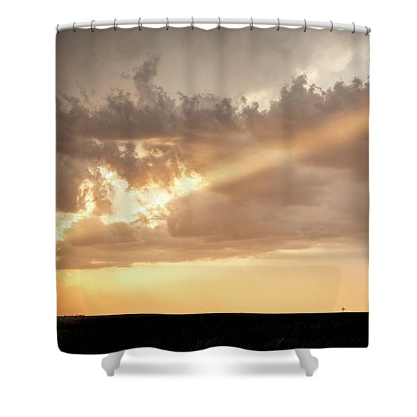 Shower Curtain featuring the photograph Stormy Sunset And Windmill 01 by Rob Graham