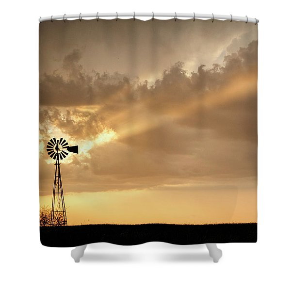 Shower Curtain featuring the photograph Stormy Sunset And Windmill 02 by Rob Graham