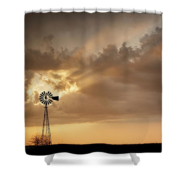 Shower Curtain featuring the photograph Stormy Sunset And Windmill 03 by Rob Graham
