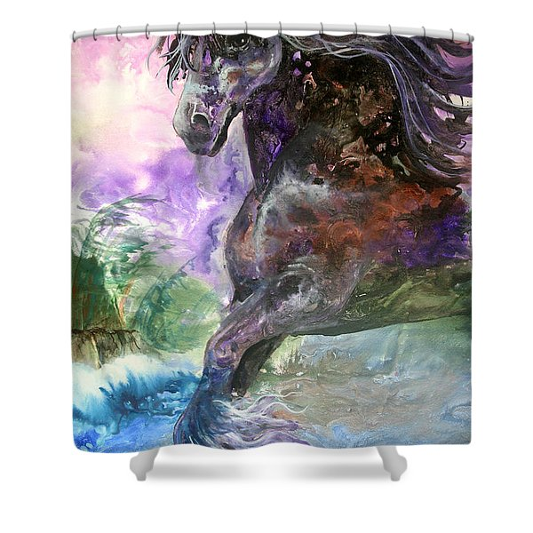 Stormy Wind Horse Shower Curtain
