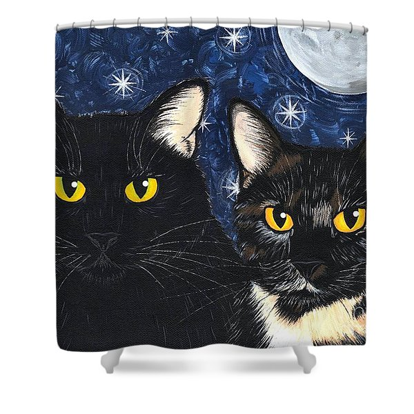 Strangeling's Felines - Black Cat Tortie Cat Shower Curtain