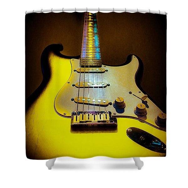 Stratocaster Lemon Burst Glow Neck Series Shower Curtain