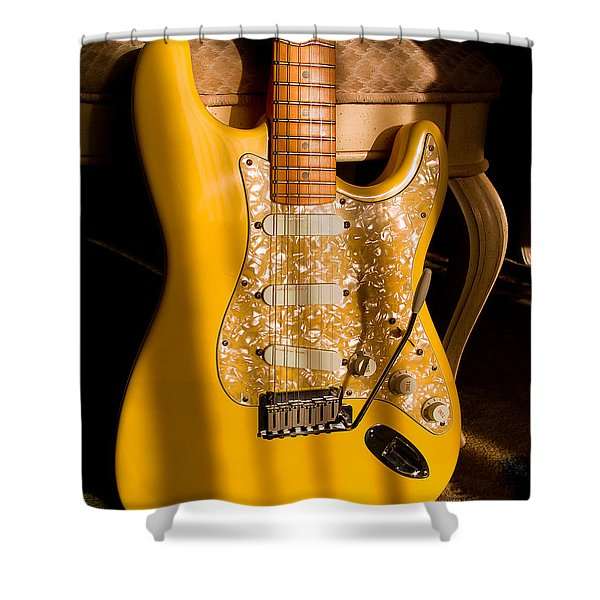 Stratocaster Plus In Graffiti Yellow Shower Curtain