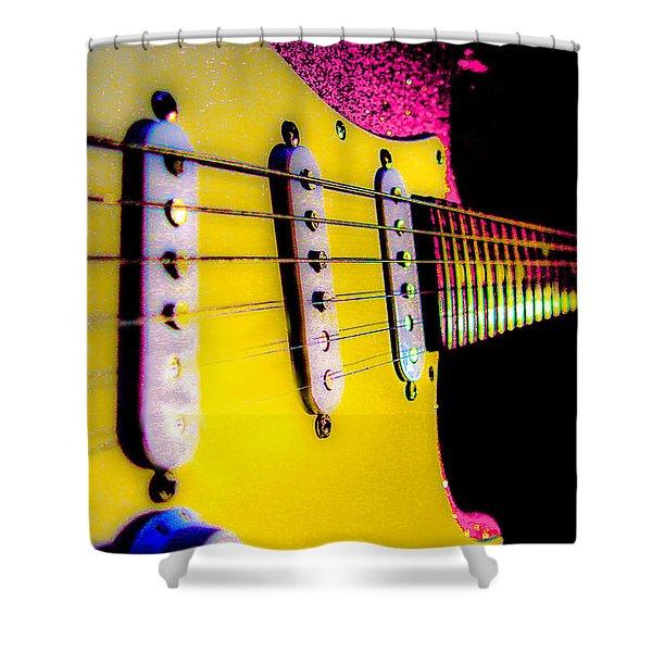 Stratocaster Pop Art Pink Fire Neck Series Shower Curtain