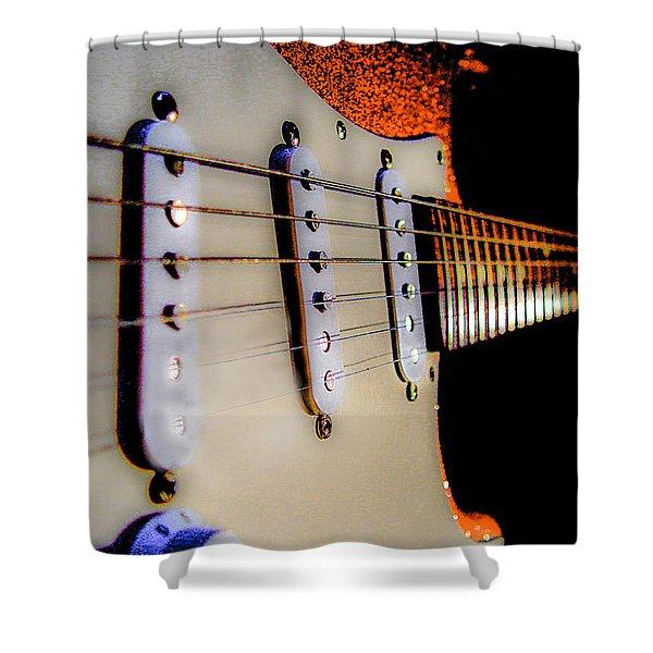 Stratocaster Pop Art Tangerine Sparkle Fire Neck Series Shower Curtain