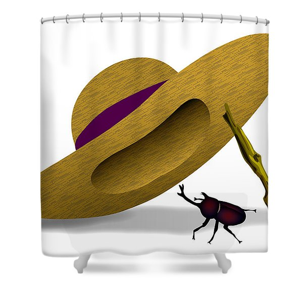 Straw Hat And Horn Beetle Shower Curtain