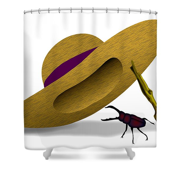 Straw Hat And Stag Beetle Shower Curtain