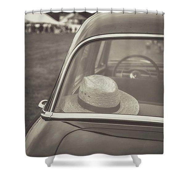 Straw Hat Vintage Car Craftsbury Vermont Shower Curtain