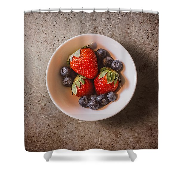 Strawberries And Blueberries Shower Curtain