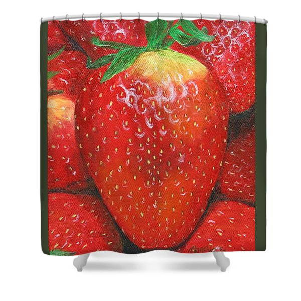 Shower Curtain featuring the painting Strawberries by Nancy Nale
