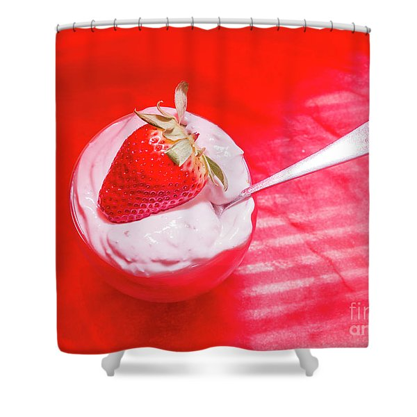 Strawberry Yogurt In Round Bowl With Spoon Shower Curtain