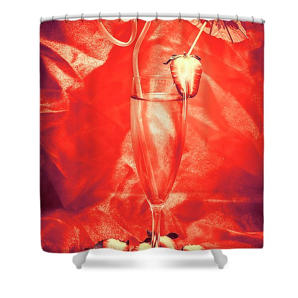 Straweberry Tropical Cocktail Drink Shower Curtain