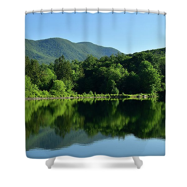 Shower Curtain featuring the photograph Streak Of Light At The Lake by Nancy De Flon