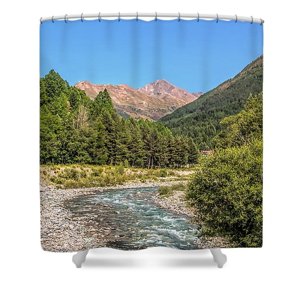 Streaming Through The Alps Shower Curtain