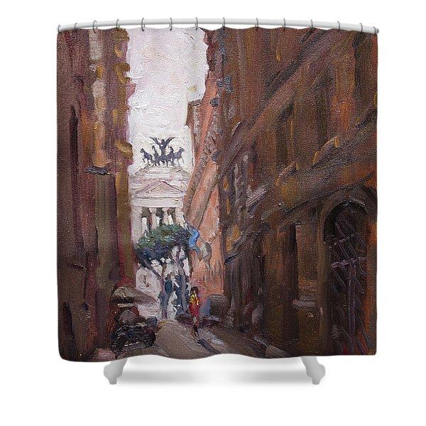 Street At Piazza Venezia Rome Shower Curtain
