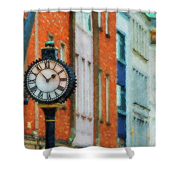 Street Clock In Cork Shower Curtain