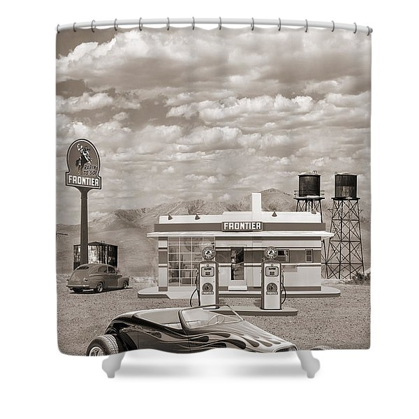 Street Rod At Frontier Station Sepia Shower Curtain