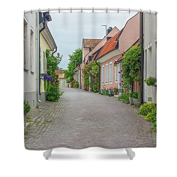 Street With Old Houses In A Swedish Town Visby Shower Curtain