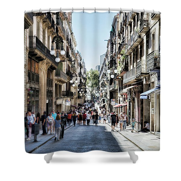 Streets Of La Rambia Barcelona  Shower Curtain