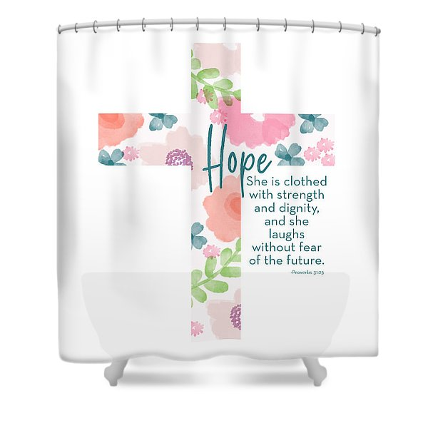 Strength And Dignity Cross- Art By Linda Woods Shower Curtain