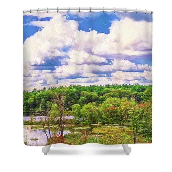 Striking Clouds Above Small Water Inlet And Green Trees Shower Curtain