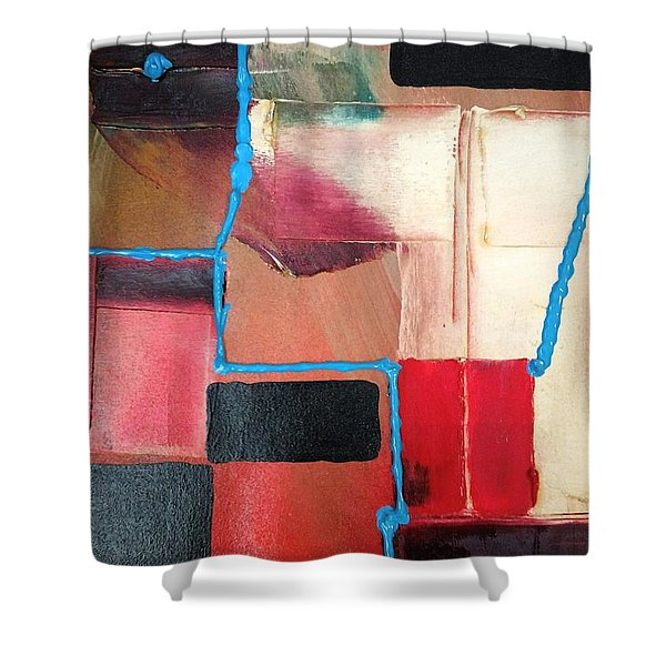 String Theory Abstraction Shower Curtain