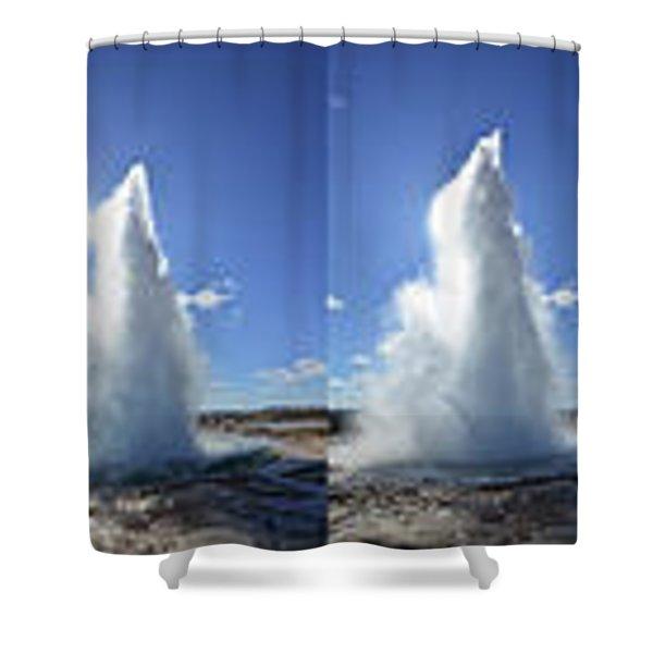 Strokkur Geyser Erupting Shower Curtain
