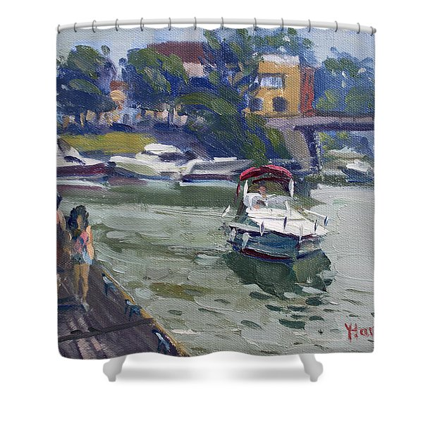 Strolling Along North Tonawanda Harbor Shower Curtain