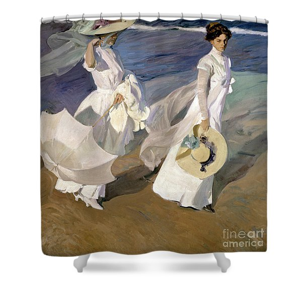 Strolling Along The Seashore Shower Curtain