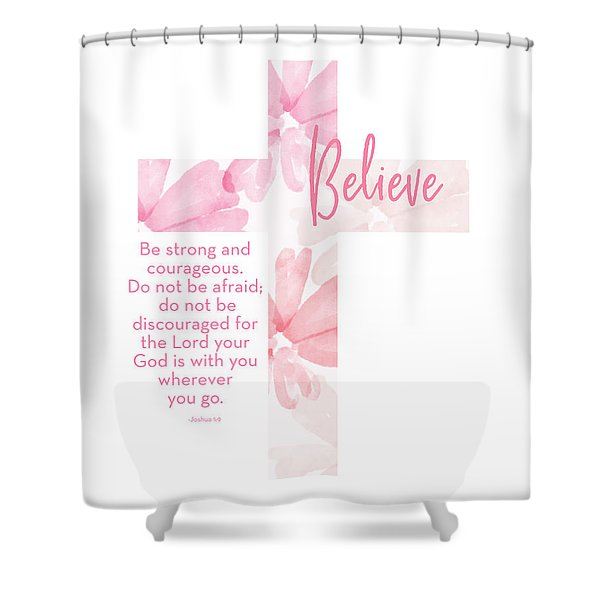 Strong And Courageous Cross- Art By Linda Woods Shower Curtain