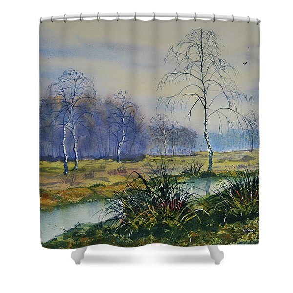 Stream In Flood On Strensall Common Shower Curtain