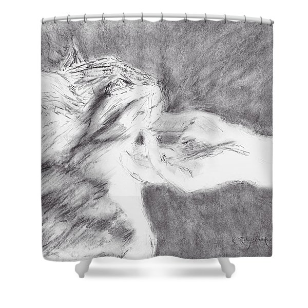 Shower Curtain featuring the drawing Study For Sweet Spot by Kathryn Riley Parker
