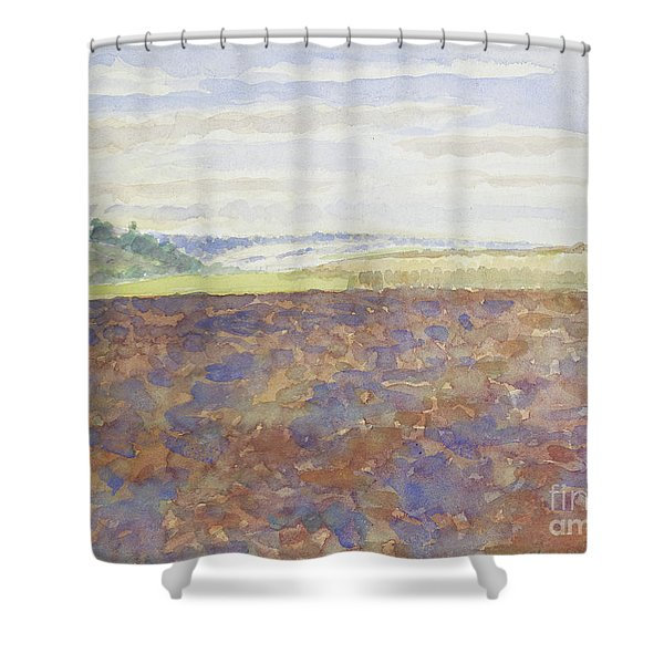 Study Of A Landscape With A Ploughed Field Shower Curtain