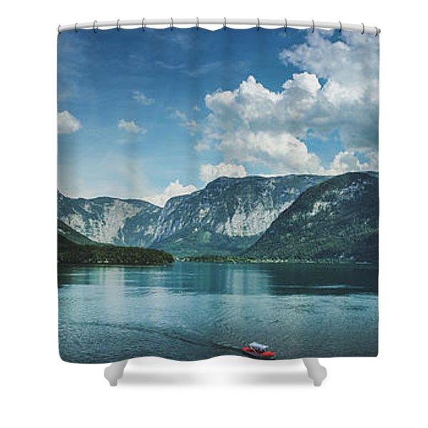 Stunning Lake Hallstatt Panorama Shower Curtain