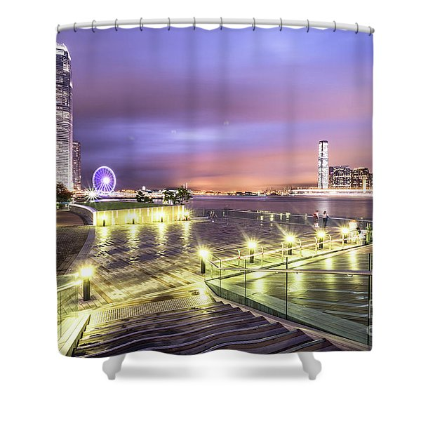 Stunning Night View Of The Famous Hong Kong Island Skyline And V Shower Curtain