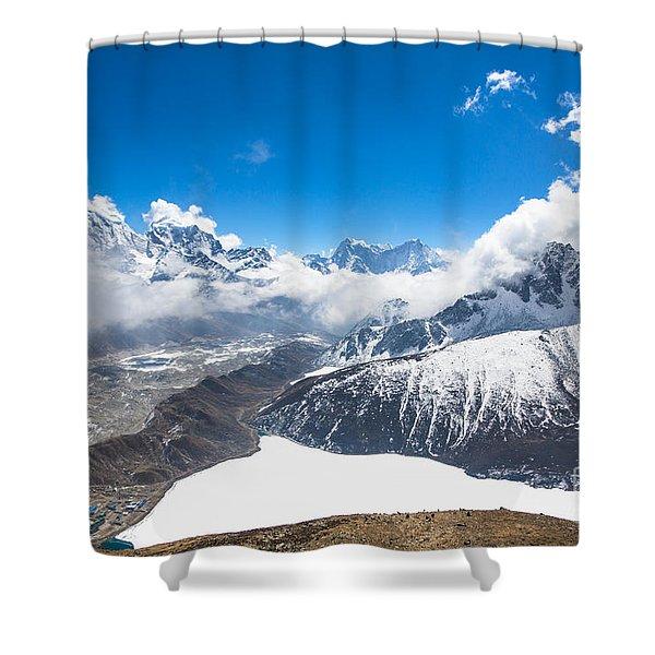 Stunning Panorama Over Gokyo In Nepal Shower Curtain